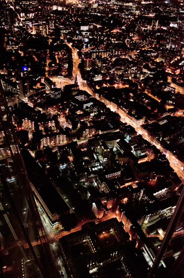 The streets and buildings of London below the Shard
